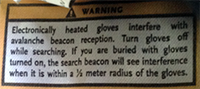 Black Diamond Heated Glove Warning